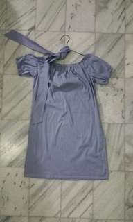 Pomelo sabrina dress kemeja shirt garis biru blue
