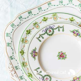 RESERVED Three beautiful mix and match green themed antique English plates, ribbon bows, swags and garlands, Set A