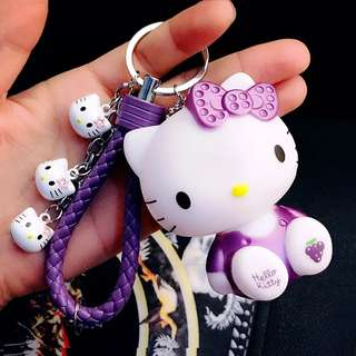 17 Color Cute Pvc Cat Hello Kitty Doll Keychain Leather Rope Key Holder Metal Bell Key Chain Keyring Charm Bag Auto Pendant Gift