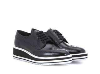 Sepatu PRADA Wingtip Leather platform Brogues KW SUPER