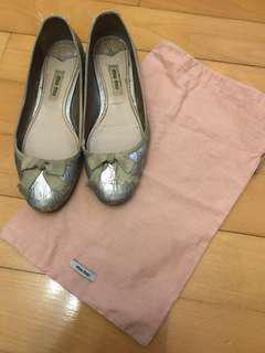 Authentic miu Miu sliver Flats shoes