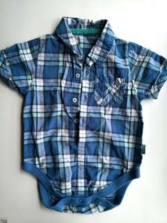 NEW M&S Soft Thin Cotton Blue Checks Shirt Onesies