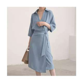Tie Side Wrap Shirt Dress