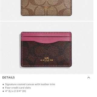 Authentic Coach Flat Card Case