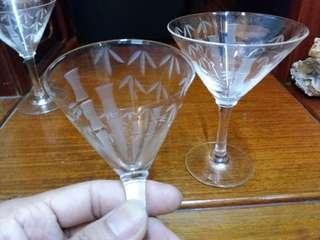 Vintage~Wine Glasses~Cut 花 酒杯一對