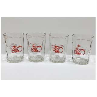 Collectible Lot of 4 Vintage 1980s Caltex Self-Serve Drinking Glasses *Very Rare!