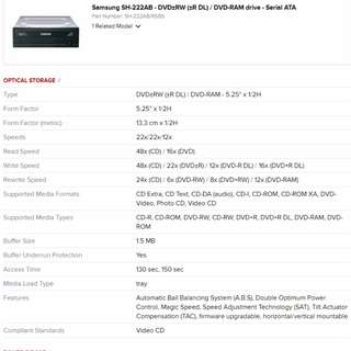 Samsung SH-222AB - DVD±RW (±R DL) / DVD-RAM drive - Serial ATA