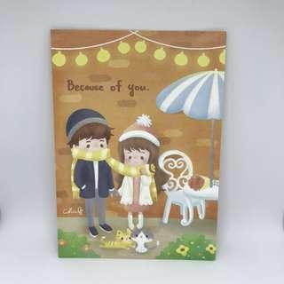 台灣插畫師CHIABB佳比「Because of You」雙面postcard