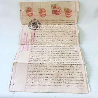STRAITS SETTLEMENT 1903 Handwritten Indenture $18 Revenue Stamp Singapore