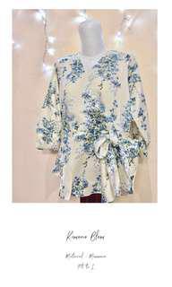 Kimono Floral / Baju Kimono Bunga - Bunga Biru Hijau Putih Broken White Maxmara