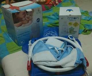 Baby Milk heater, baby bottle steamer, baby folded chair