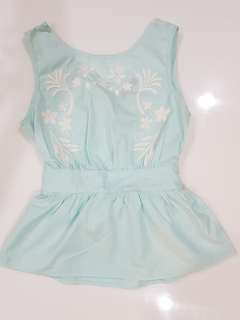 Embroidered Mint Green Top