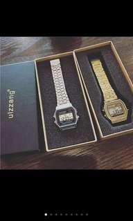 🚚 Ulzzang 韓國復古電子錶 經典百搭款 金色與銀色鋼帶  附錶盒與電池 女錶 中性錶