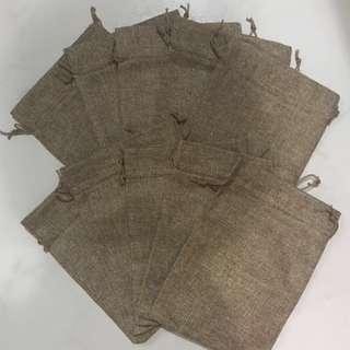 (M) Burlap Drawstring Bag