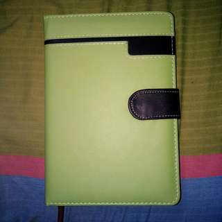 Hard cover leather notebook