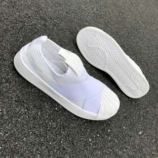 [Clearance EU 40 @ UK 6.5 only] Adidas Slip On All White 😊