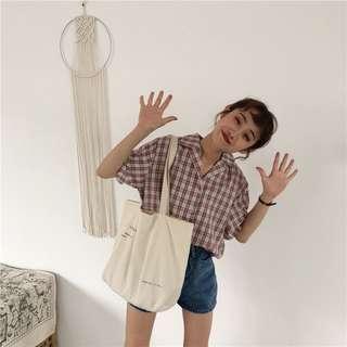 韓國小清新復古撞色短版襯衫