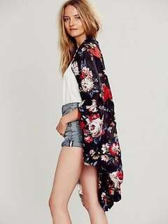 Free People One Size Raw Edge Kimono in Black