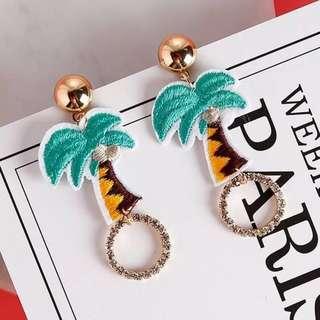 🚚 韓 可愛 椰子樹 造型 水鑽 垂墜式 耳針 耳環(可改耳夾)