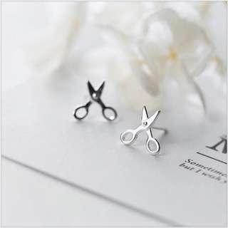 🚚 韓 可愛 簡約  剪刀 造型 抗敏感925耳針 耳環