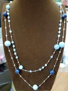 全925銀 海藍寶加藍晶石 頸鏈兩條(每款配搭)