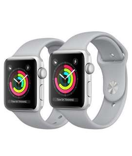 Apple Watch Silver Aluminum Case with Fog Sport Band