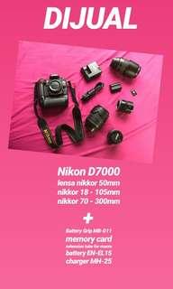 kamera DSLR nikon D7000 full set + 3 lensa (not canon sony fuji)