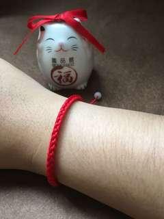 趣品館*L2605.單圈帶珠款 可調式手工編織簡約本命紅線 男女幸運手鍊.嚴選創意生活禮品包材