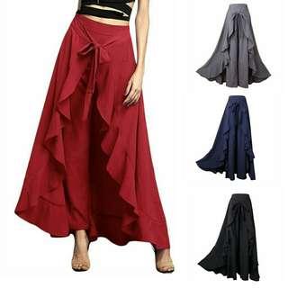 Ruffle Wrap Skirt Women Chiffon Tie-Waist Wide Leg Loose Pants