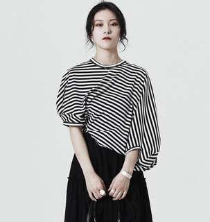 PO - Korea Fashion Striped Loose Irregular Short Sleeve O-Neck Tee