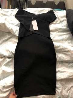 ASOS black off the shoulder body con dress
