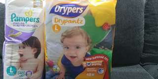 Wts: Size L - Dryers Drypantz and Pampers @$20