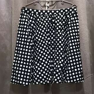 Black White Polkadots Skirt Plus Size