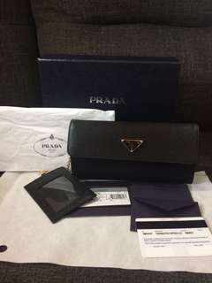 Authentic Prada Portafolio Patina + Vittelo Wallet Complete With Card and Box