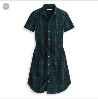 🚚 Lativ格紋綁帶短袖洋裝