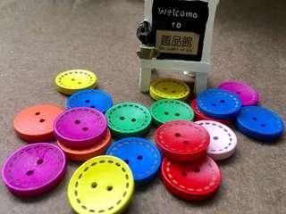 趣品館*L2301.3入2cm-DIY彩色木質虛線鈕釦 卡片手工藝縫紉包包裝飾配件.嚴選創意生活禮品烘培包材