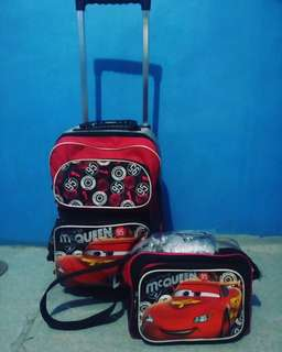 CARS TROLLEY BAG AND LUNCH BAG WITH RAIN COVER