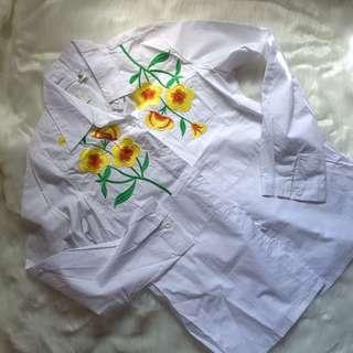 White floral polo
