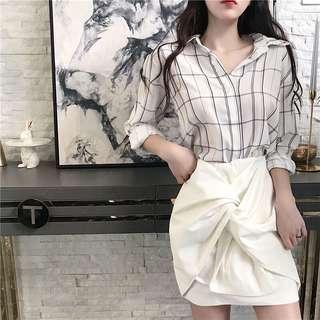 高腰修身个性绑带半身裙短裙