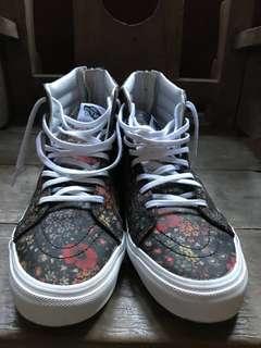 Sepatu Vans SK8-HI Slim Zip Floral Leather