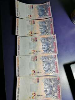RM2 bank notes