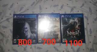 For Sale PS4 Games Nioh SOM GOTY Madmax