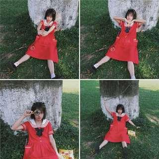 猫日屋 童趣甜美小清新紅色小海軍連身裙