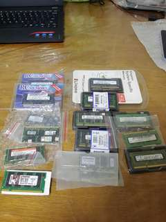 Assorted Laptop Rams DDR, DDR2, DDR3, 128MB, 256MB, 512MB, 1GB