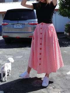 🚚 鈕扣格子裙
