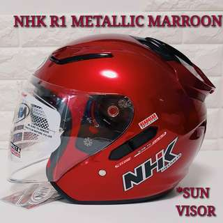NHK Helmet R1 Metallic Marroon Red