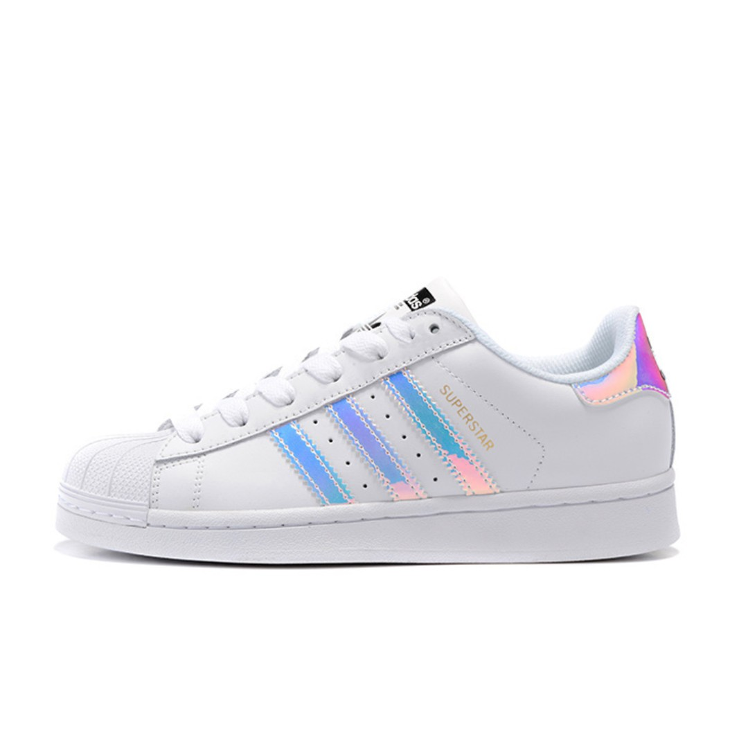 [AUTHENTIC] ADIDAS SUPERSTARS IRIDESCENT HOLOGRAPHIC SNEAKERS SHOES IN SIZE 37, Women's Fashion, Shoes, Sneakers on Carousell