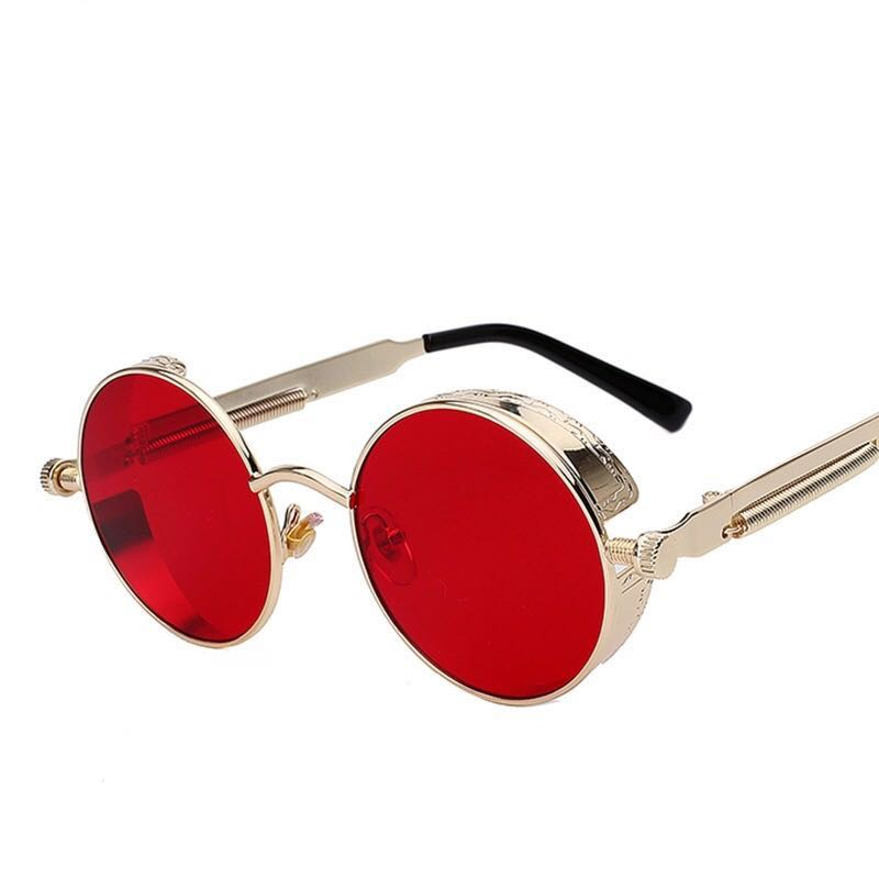 e36224a285 CarouPay Round Metal Sunglasses Steampunk Men Women Fashion Glasses ...