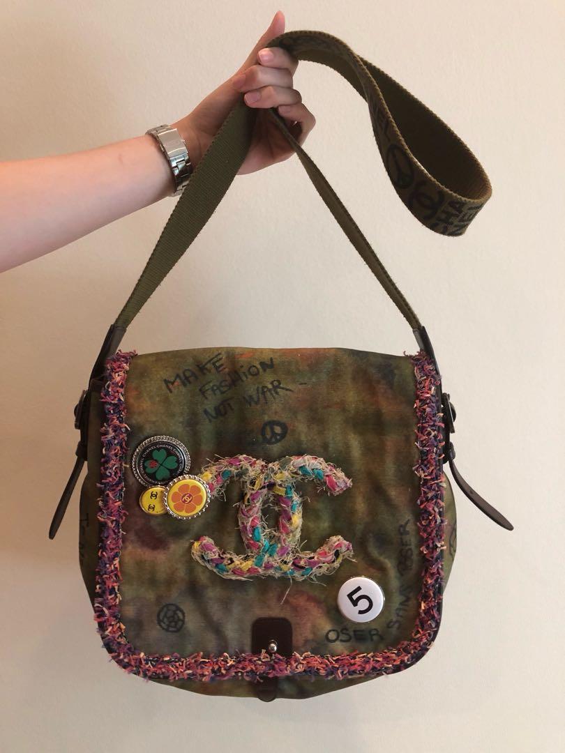 7df6b76ee Chanel Canvas Graffiti Messenger Bag, Women's Fashion, Bags ...