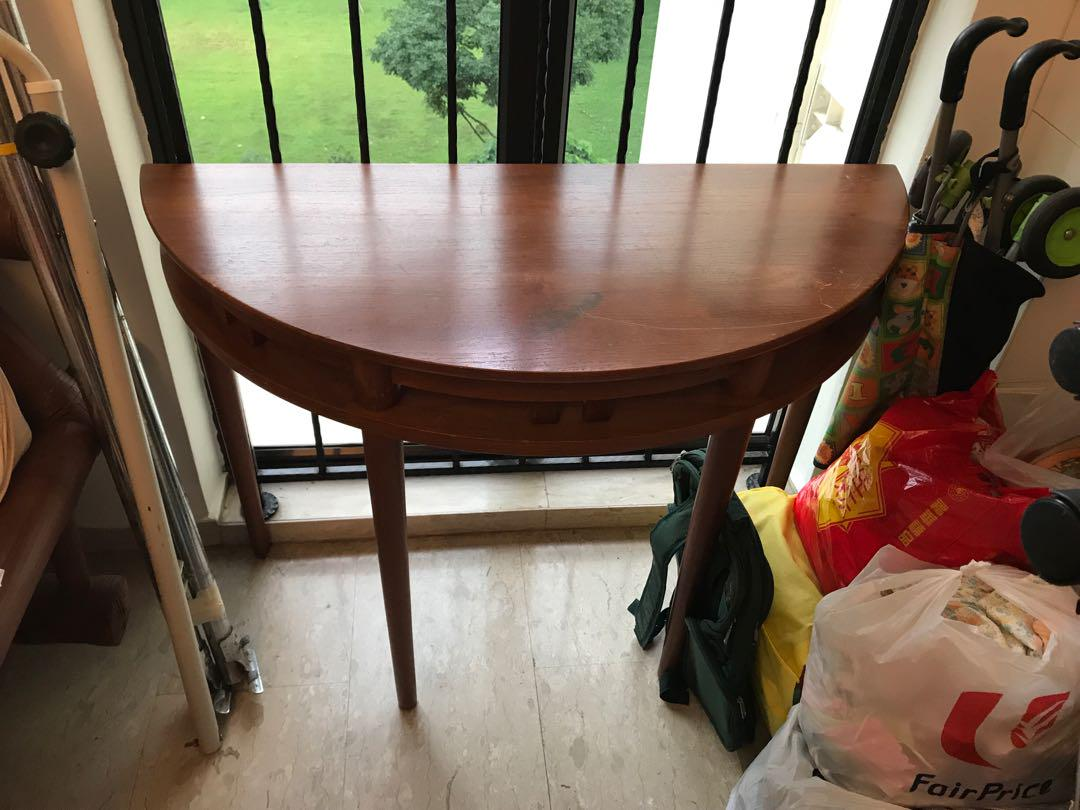 Picture of: Half Circle Solid Wood Table Dia 105 Cm Furniture Tables Chairs On Carousell
